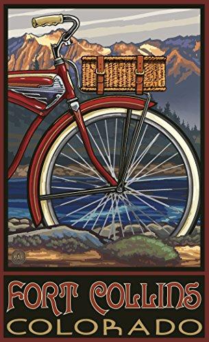 Northwest Art Mall PAL-6467 FTB Fort Collins Colorado Fat Tire Bike 11x17 Print by Artist Paul A. - Mall Collins Fort