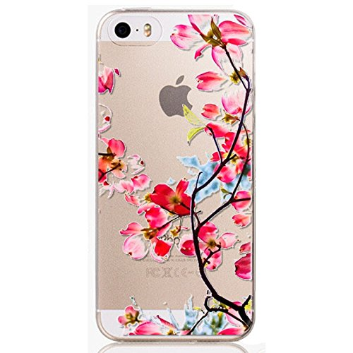 """ANYPHONE-for iPhone 6Plus Case 5.5""""Screen Size Ultra Slim Flower Paintings Crystal Transparent Soft Rubber Cellphone Cover"""