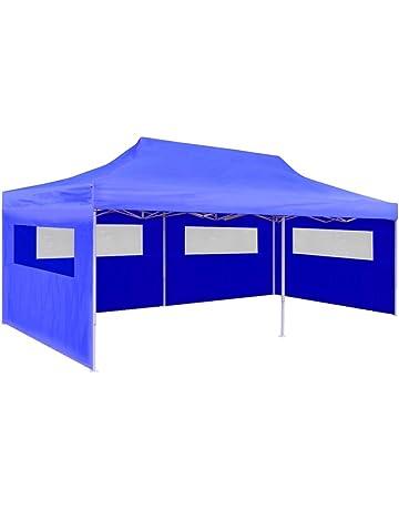 vidaXL Gazebo Jardín Fiesta Eventos Camping Tienda Carpa Pabellón Plegable Crema/Azul, 3x6 m