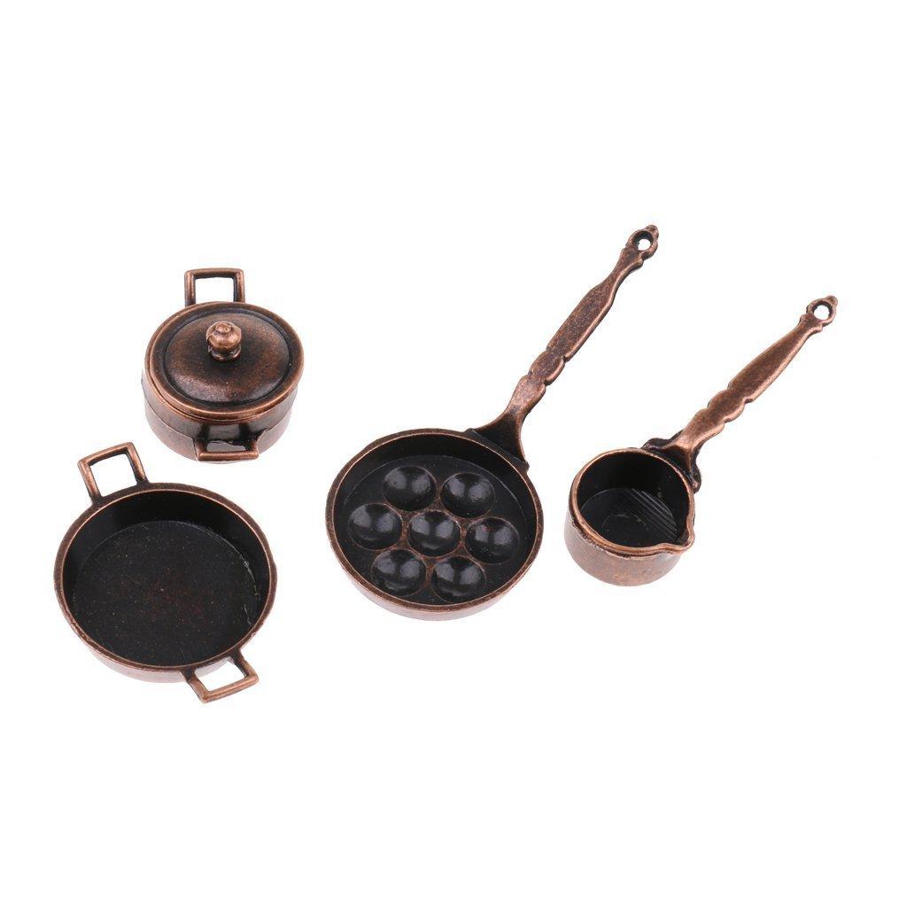 Sgerste 1/12Dollhouse miniature batterie de cuisine 5pièces en métal Pots casseroles meubles Modèle Ornaments accessoire