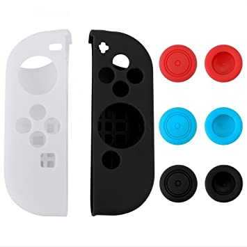 eXtremeRate Anti-Slip Silicone Case Gel Guards for Nintendo Switch Joy-Con Controller with 3 Pairs Thumb Stick Grips Caps Left White Right Black