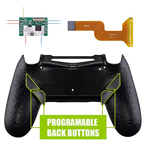 eXtremeRate Dawn Programable Remap Kit for PS4 Controller with Mod Chip & Redesigned Back Shell & 4 Back Buttons - Compatible with JDM 040/050/055 - Textured Black ()