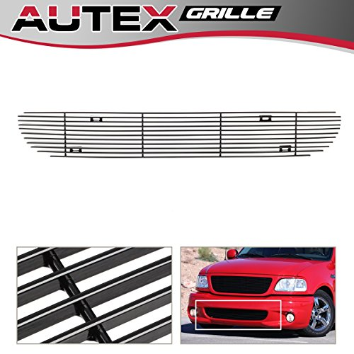 AUTEX Lower Bumper Billet Grille Compatible With Ford F150 1999-2003 Lightning Grill Replacement Black Powder Coated F85384H ()