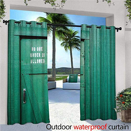 Teal Patio Curtains Monochrome Vintage Wooden Local Irish Pub Rustic Door with Warning Phrase Culture Photo Outdoor Curtain for Patio,Outdoor Patio Curtains W108 x L96 ()