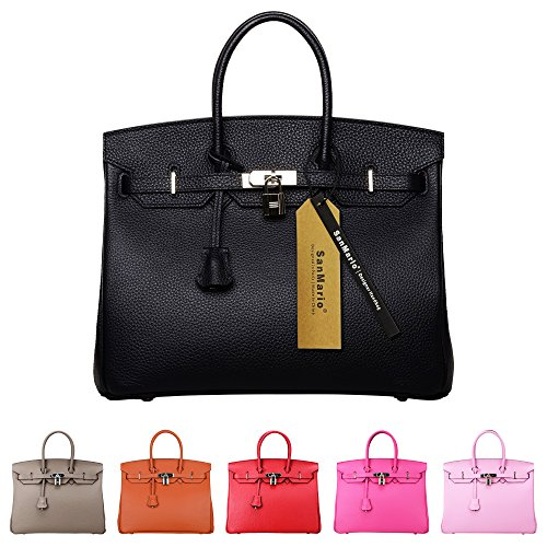 SanMario Designer Handbag Top Handle Padlock Women's Leather Bag with Silver Hardware Black 35cm/14'' by SanMario