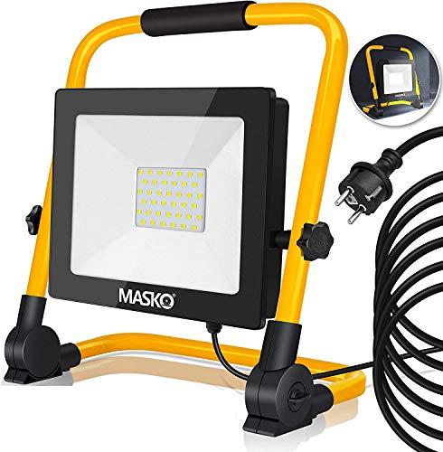 MASKO® LED Baustrahler 30W – Arbeitsleuchte – Arbeitsscheinwerfer 5m Netzkabel 6400K IP65 – Bauscheinwerfer inkl…