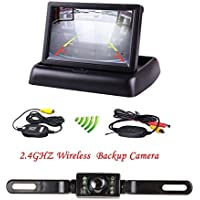 HAIN Wireless Backup Vehicle/Car Rear view Monitor Parking Reverse System with 4.3 Foldable Car TFT LCD Monitor and License Plate Wireless Backup waterproof 7 IR LED night vision Camera