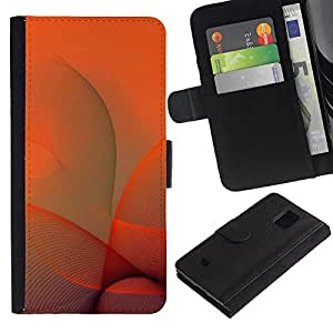 Paccase / Billetera de Cuero Caso del tirón Titular de la tarjeta Carcasa Funda para - Orange Swirls - Samsung Galaxy S5 Mini, SM-G800, NOT S5 REGULAR!
