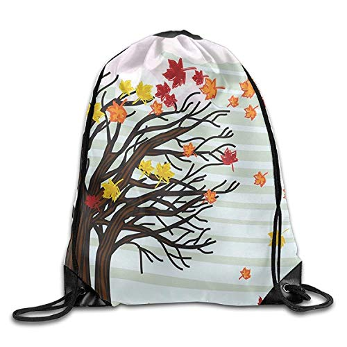 CHJOO Autumn Winds Drawstring Bags Portable Backpack Pocket Bag Travel Sport Gym Bag Yoga Runner Daypack ()