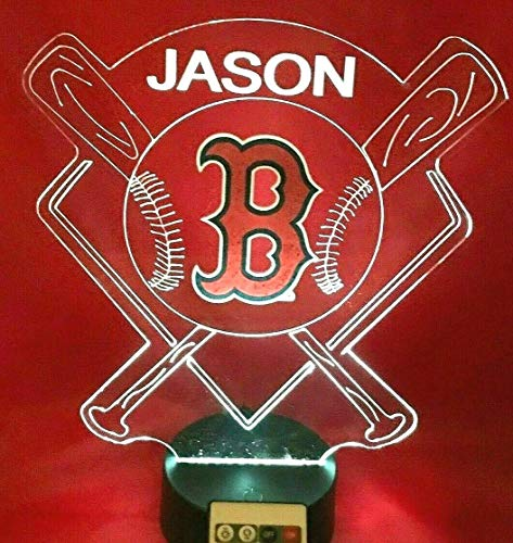 - Boston Red Sox MLB Baseball Stadium Light Up Lamp LED Illusion Personalized Table Night Lamp, Our Newest Feature - It's Wow, with Remote 16 Color Options, Dimmer, Free Engraved Great Gift