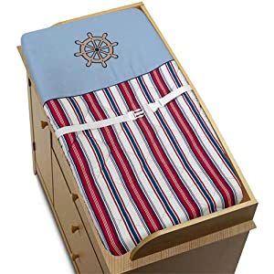 Sweet Jojo Designs Nautical Nights Sailboat Boys Changing Pad Cover