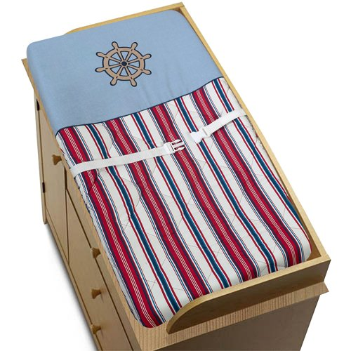 Nautical Nights Sailboat Boys Changing Pad Cover by Sweet Jo