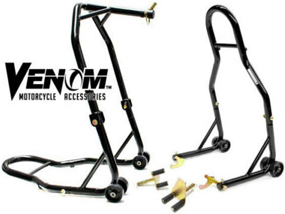 Motorcycle Front Triple Tree /& Rear Swingarm Spool Lift Combo Wheel Lift Stands