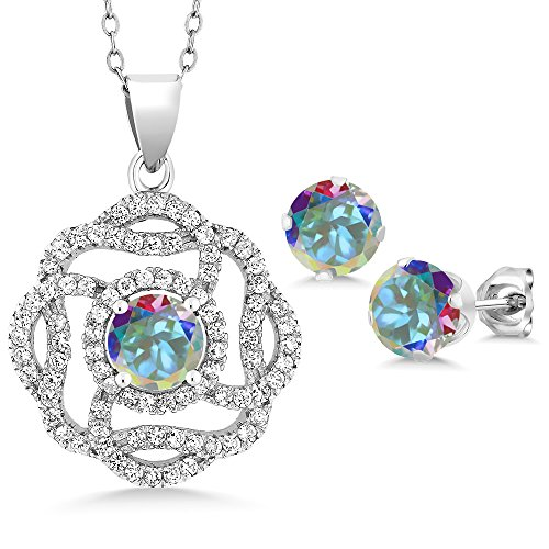 Mercury Topaz Set (5.06 Ct Round Mercury Mist Mystic Topaz 925 Sterling Silver Pendant Earrings Set)