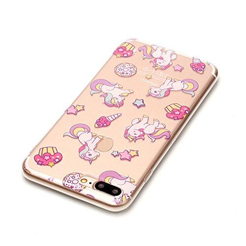 iPhone 8 Plus Hülle,Schöne Regenbogenpferde Premium Handy Tasche Schutz Transparent Schale Für Apple iPhone 8 Plus + Zwei Geschenk