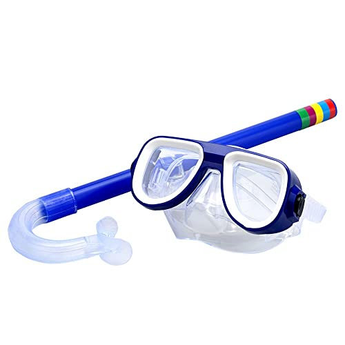 Kids Snorkel Set, Swimming Goggles Semi-dry Snorkel Equipment for Boys and Girls Junior Snorkeling Gear Age 5 Plus (Blue)