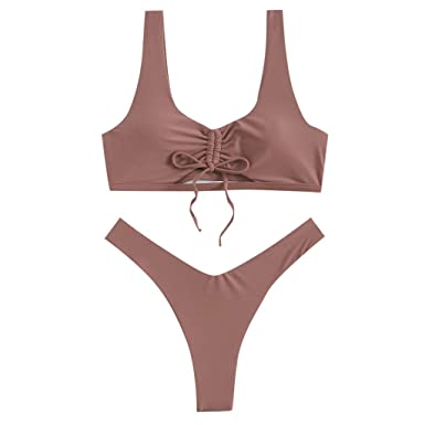 06b812da98 Amazon.com  kaifongfu Solid Color Swimwear Women Push-Up Padded Bra Beach  Bikini Set Swimsuit Beachwear Suits  Clothing