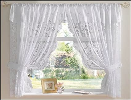 The Textile House White Andrea Net Curtain Set 100 X 42 Jacquard Lace Including Tie Backs And Attached Pelmet Amazon Co Uk Kitchen Home