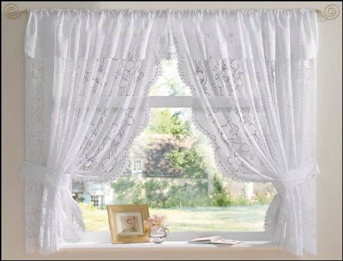 White Andrea Net Curtain Set 100 X 36 Jacquard Lace Including Tie Backs