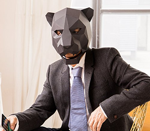Maxleaf Chookie 3D Paper Mask Animal Head Molds DIY Halloween Party Costume Cosplay Facial Paper-Craft Kit Leopard Design (Leopard Diy Halloween)