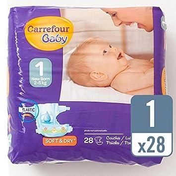Carrefour bebé recién nacido Tamaño 1 Pañales Carry Pack de 28 por paquete: Amazon.es: Bebé