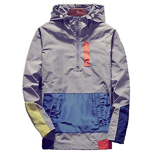 Allonly Men's Fashion Color Block Half Zipper Pullover Long Sleeves Hood Windbreaker Hoodie Jacket supplier