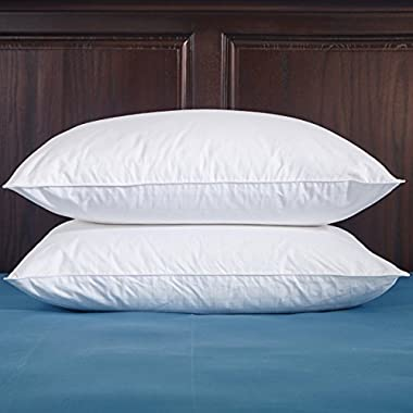 Puredown White Down Pillow 100% Cotton Fabric 600 Fill Power(with 100% Cotton Pillow Protectors), King, Set of 2