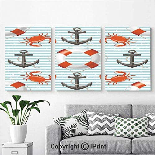 Wall Art Decor 3 Pcs High Definition Printing Life Rings Anchor and Ropes Ocean Crabs Coastal Theme Teal Striped Print Painting Home Decoration Living Room Bedroom Background,16