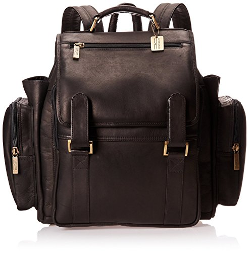 Claire Chase Jumbo Leather Small Laptop Backpack in Black ()