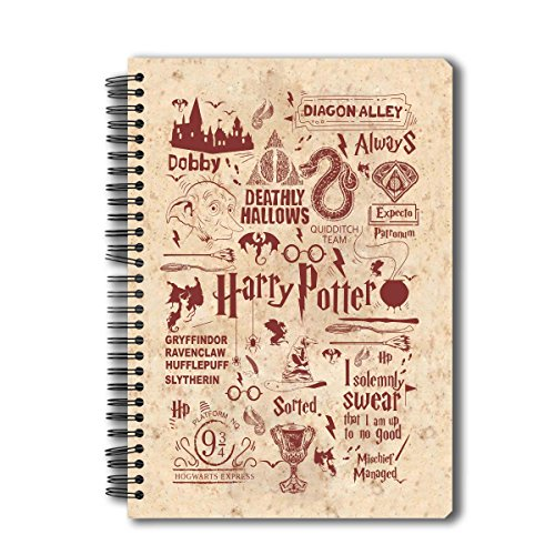 Mc Sid Razz Harry Potter Spiral Notebook of Infographic Red | Multi 5 Subject B5 Size Harry Potter Collectible Wire Bound Notebook | Officially licensed by Warner Bros, -