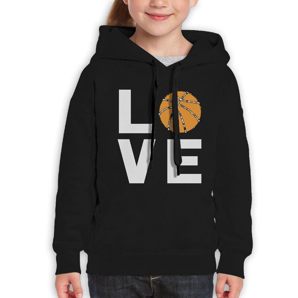 Dewfewger Boy Girl Love Basketball - Gift Idea For Basketball Fans Player Cool Travel Shirt Boy Hooded Sweatshirt Large