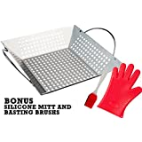 Andes Broos Best Stainless Steel Grill Basket for Charcoal or Gas Grilling–Great for BBQ Vegetables, Fish, Shrimp, Chicken, Kabob. Large with Handle. Barbecue Accessories Set w/Basting Brush and Mitt