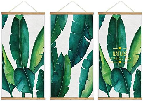 Hanging Poster with Wood Frames Beautiful Green Plants Home Wall x3 Panels