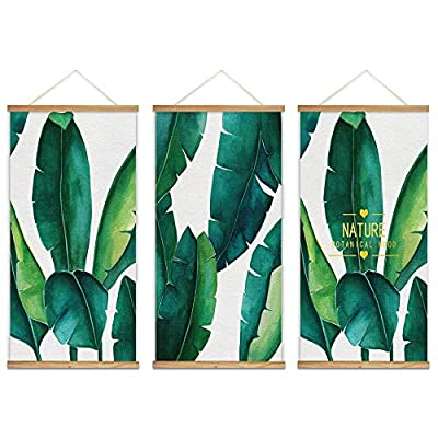 Majestic Visual, Hanging Poster with Wood Frames Beautiful Green Plants Home Wall x3 Panels, That's 100% USA Made