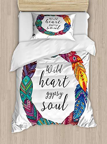 Lunarable Gypsy Soul Duvet Cover Set Twin Size, Wild Heart Gypsy Soul Calligraphy in Beautiful Colorful Creative Feathers Wreath, Decorative 2 Piece Bedding Set with 1 Pillow Sham, Multicolor