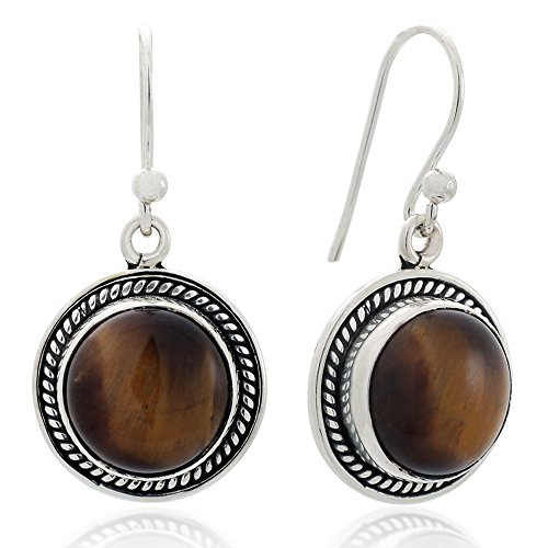 925 Sterling Silver Natural Brown Tiger Eye Gemstone Rope Edge Round Dangle Hook Earrings 1.2