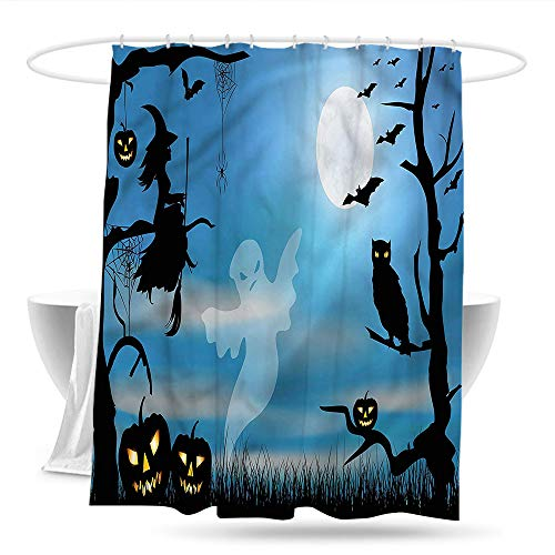 Sweet decoration Hotel Style Shower Curtain Halloween Fantastic Forest at Night Shower Curtain Bathroom 59in×70in]()