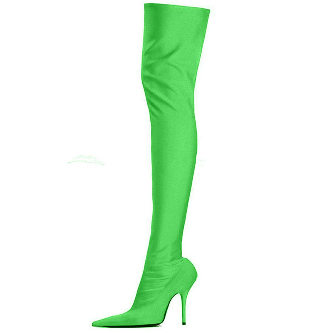 Green Over The Knee Boots Thin High Heels Party shoes Women Pointed Toe Satin Boots