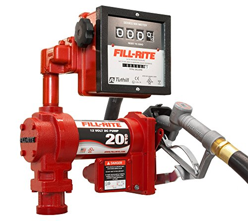 Fill-Rite FR4211G High Flow Fuel Transfer Pump with Meter, Telescoping Suction Pipe, 12' Delivery Hose, Manual Release Nozzle, 4-Wheel Register Meter - 12 Volt, 20 GPM by Fill-Rite