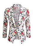 POGT Women 3/4 Sleeve Blazer Open Front Cardigan Jacket Work Office Blazer (M, Z# Floral White)