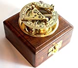 THORINSTRUMENTS (with device) BRASS SUNDIAL COMPASS -Solid Brass Pocket Sundial - West London With Wooden Box