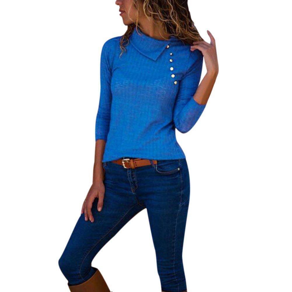 KOERIM Women's V Neck Long Sleeve Button Chiffon Solid Blouse Loose Tops
