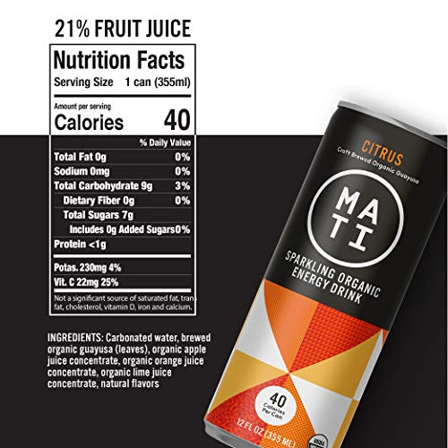 MATI Plant-Powered Sparkling Organic Energy Drink, Citrus, 40 Calories, 12 Fl Oz, Pack of 12