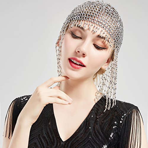 BABEYOND 1920s Beaded Cap Headpiece Vintage Style Roaring 20s Beaded Flapper Cap Headpiece Exotic Cleopatra Headpiece for Great Gatsby Themed Party