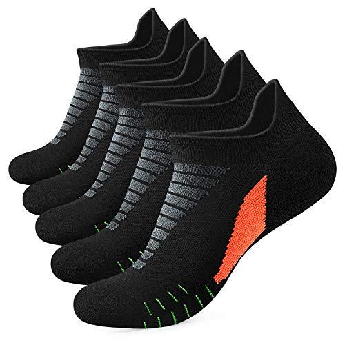 (Mens Ankle Athletic Running Sport Tab Low Cut Socks for Men 5 pair Socks Cushion (Black))