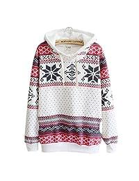 Franterd Women Winter Christmas Snow Hoodie Sweatshirt Pullover
