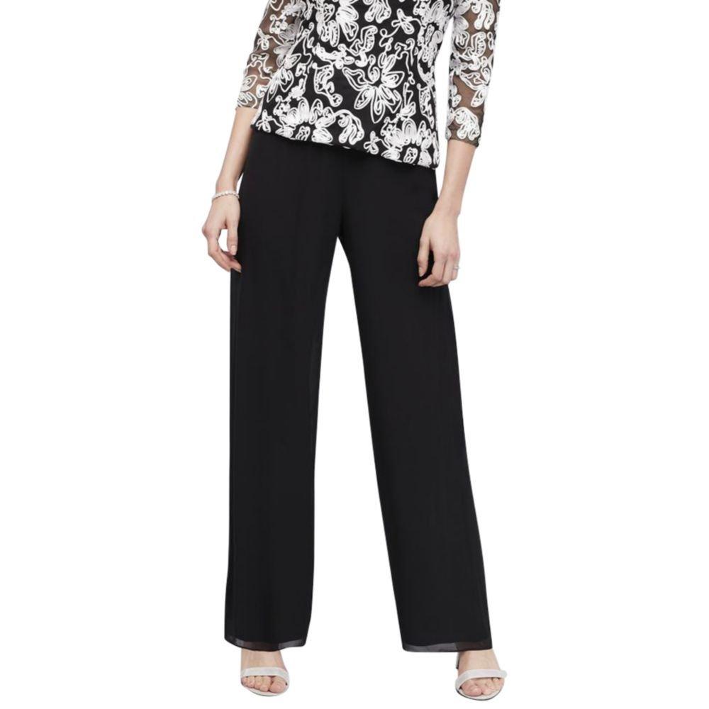 Alex Evenings Women's Chiffon Dress Pants, Black, S
