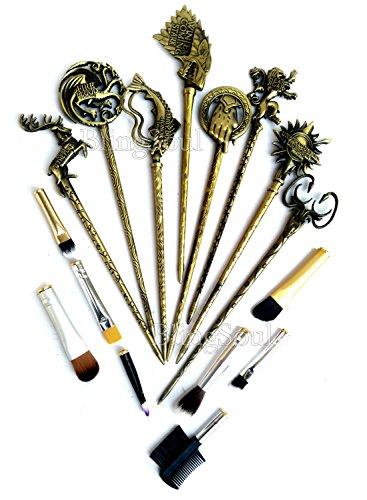 Blingsoul Game Of Thrones Costume Brushes Merchandise   Daenerys Targaryen Stark Mother Of Dragon Iron Throne Hair Pins Makeup Brush Set   Bronze