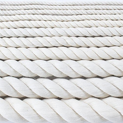Twisted Cotton Rope (3/16 inch 1.5 inch) SGT KNOTS 100% Natural Cord No Bleach/Dyes High Strength Low Stretch DIY Projects, Crafts, Commercial, Pet Toys, Indoor/Outdoor (10 ft 1200 ft)