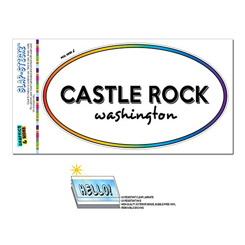 Rainbow Euro Oval Window Laminated Sticker Washington WA City State Abe - Kin - Castle Rock (Abe Rocks)